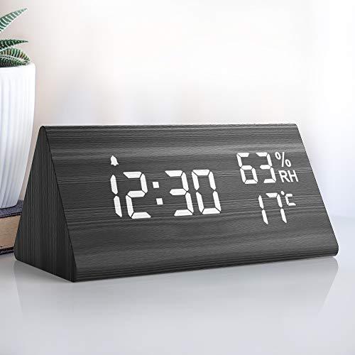 NBPOWER Wecker Digital LED Digitale Uhr Holz,Digitalwecker Tischuhr...