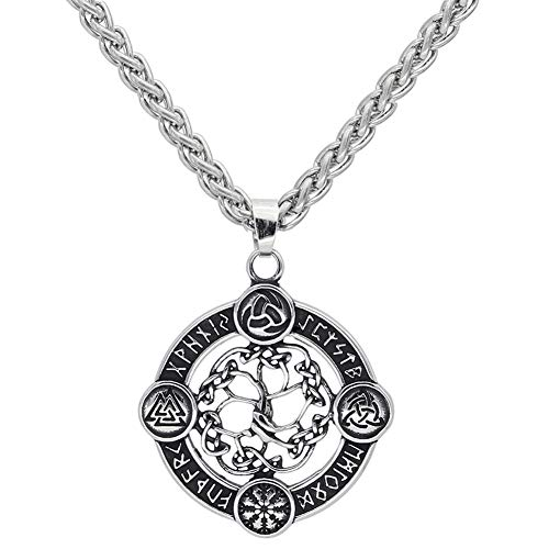 NICEWL Viking Compass Yggdrasil Rune Circle Anhänger Halskette,...
