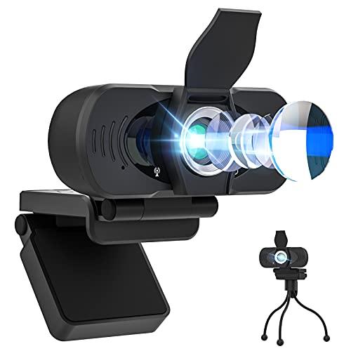 PASONOMI Webcam mit Mikrofon Stativ, Autofokus/Stereo Kamera mit...