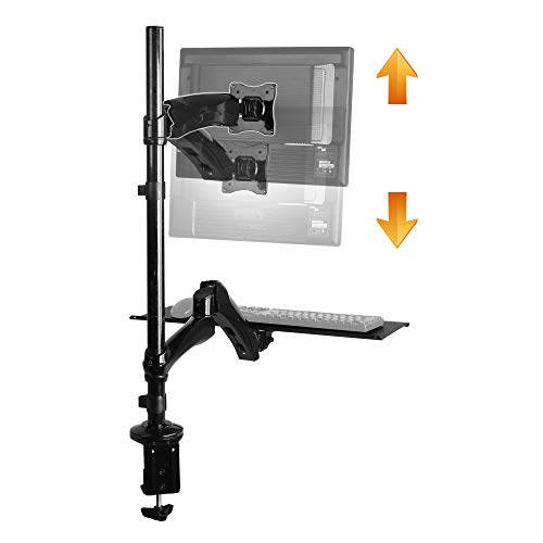 RICOO Sitz-Steh-Arbeitsplatz Monitor-Halterung Schwenkbar (TS1211)...
