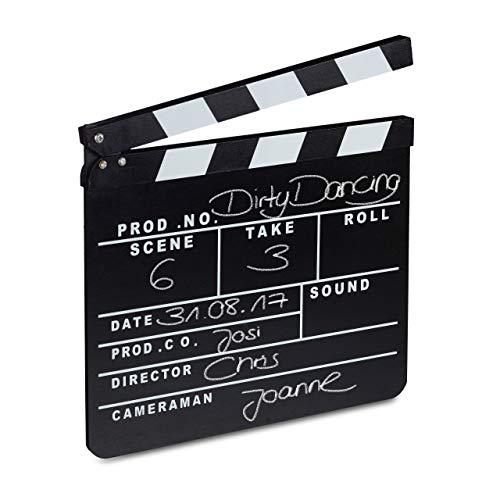 Relaxdays Filmklappe Holz, Regieklappe, Synchronklappe, Clapperboard,...