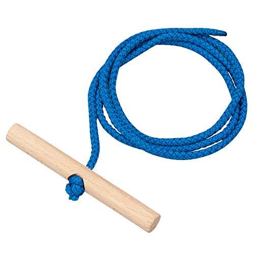 Vispronet Schlittenleine 150 cm, Farbe Blau, mit Holzgriff, Zugseil...