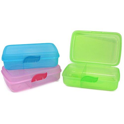 com-four® 3x Brotdose für unterwegs - Lunch-Box mit Trennwänden -...