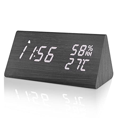 Besvic digital Wecker LED Holz, dekorative Weckeruhr tischuhr mit...