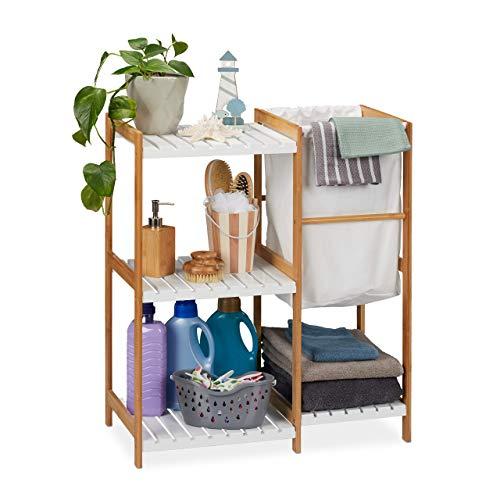 Relaxdays Badregal mit Wäschekorb, offen & stehend, Badezimmer Regal...