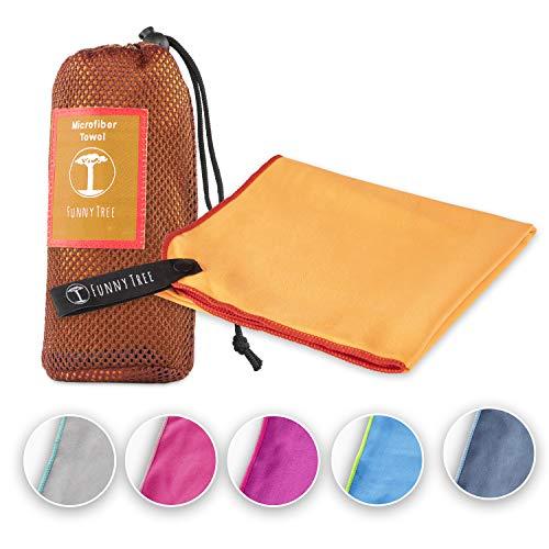 Funny Tree® Mikrofaser Handtuch (orange) 30x50cm ohne Tasche|...