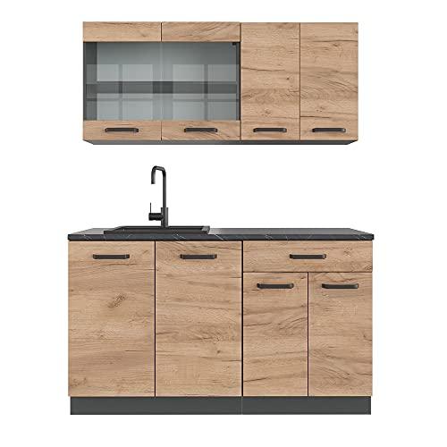 VICCO Küchenzeile R-LINE Single Einbauküche 140 cm Küche...