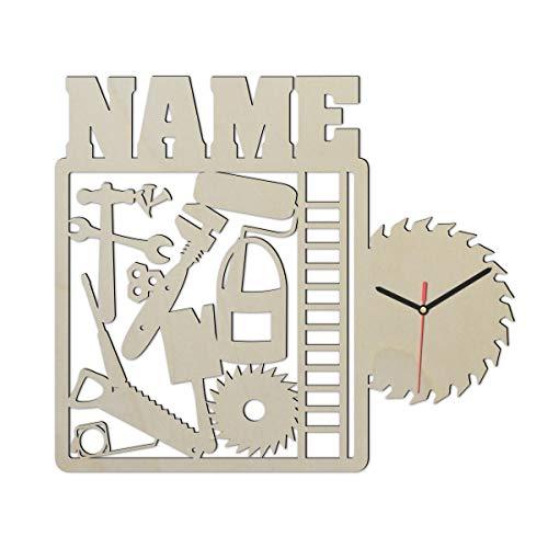 Heimwerker Handwerker Wand Uhr mit Namen lustige witzige Zubehör...