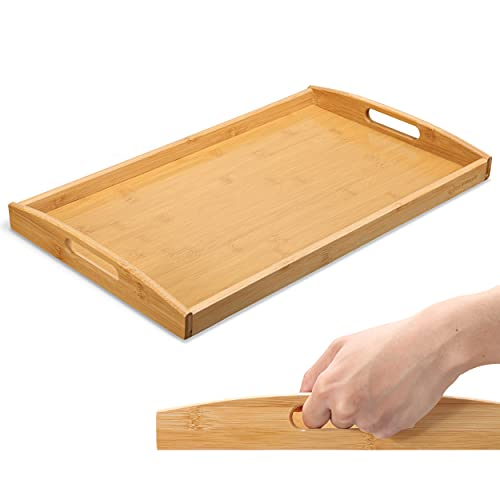 HEIMWERT Tablett Serviertablett Bambus Holz - besonders stabiles und...