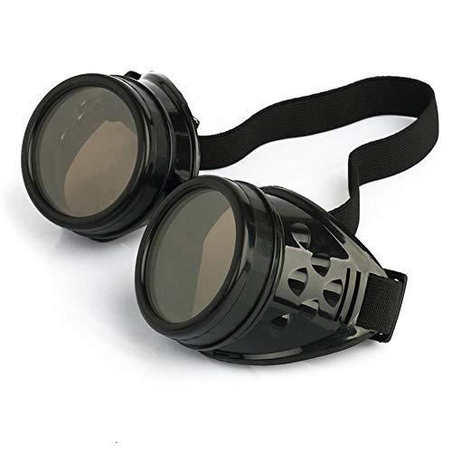 DIVISTAR Vintage Steampunk Brille Brille Cyber Punk Gothic Schwarz