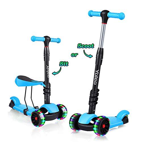 YOLEO 3-in-1 Kinder Roller Scooter mit Abnehmbarem Sitz, LED große...