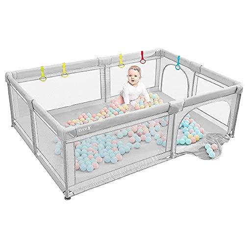 Dripex Laufstall Baby Laufgitter Absperrgitter mit atmungsaktivem Netz...