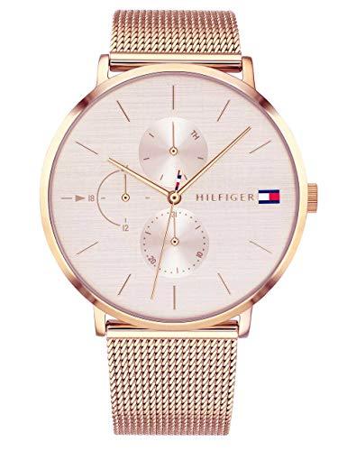 Tommy Hilfiger Damen Multi Zifferblatt Quarz Uhr mit Roségold Armband...