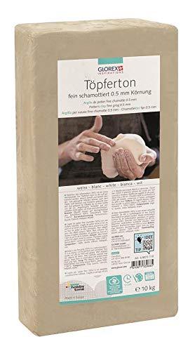 Glorex GmbH 6 8073 110 Töpferton weiß 10 kg, feinschamottiert,...