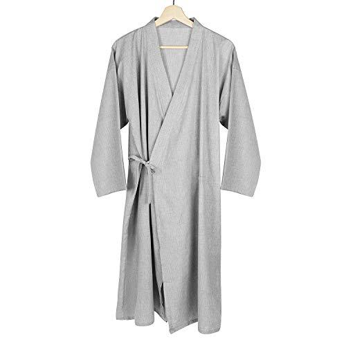 Qchomee Herren Kimono Morgenmantel Casual Yukata V-Ausschnitt...