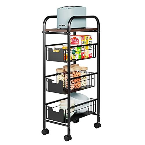 Blackzebra Küchenwagen Rollwagen mit 3 Ebenen Aufbewahrungswagen...