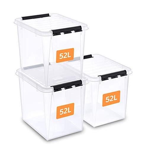 SmartStore aufbewahrungsbox mit deckel, 52 l, 3er-Pack, verstärkt,...
