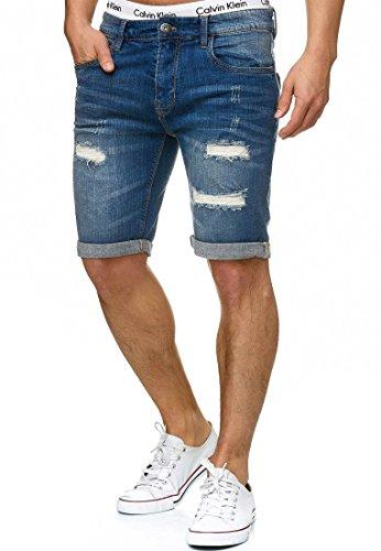 Indicode Herren Caden Jeans Shorts mit 5 Taschen aus 98% Baumwolle  ...