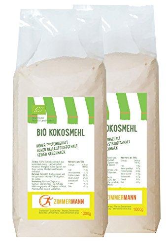 Bio Kokosmehl 2er Pack (2 x 1000g) - Hoher Proteingehalt - Hoher...