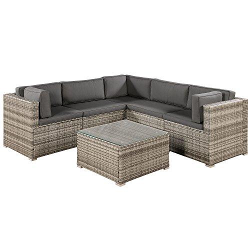 ArtLife Polyrattan Lounge Sitzgruppe Nassau beige-grau | Gartenlounge...