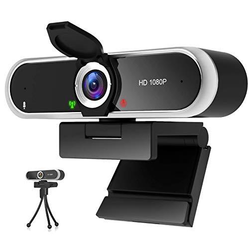 Webcam 1080P mit Mikrofon und Webcam Abdeckung, Stativ, Plug & Play,...
