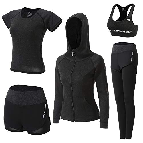 BOTRE Damen Traingsanzug Yoga Kleidung Anzug 5er-Set Sportanzüge...