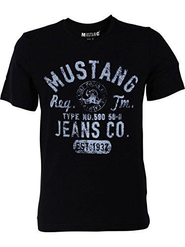 MUSTANG Herren T-Shirt Rundhals Kurzarm Logo Print Baumwolle Schwarz...