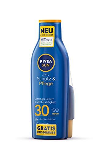 NIVEA SUN Schutz & Pflege Sonnenmilch LSF 30 + gratis Reisegröße...