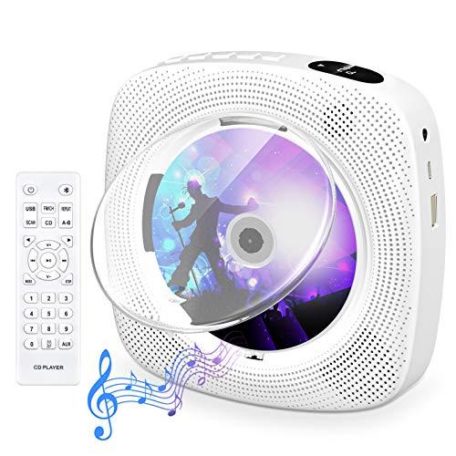 Tragbarer CD Player mit Bluetooth, Gueray Wandmontierbares CD Player...