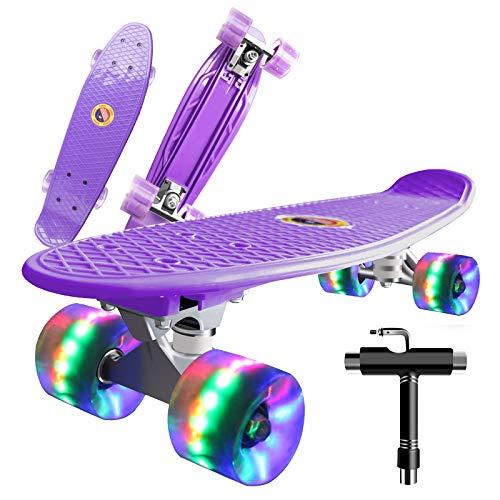 Saramond Skateboard komplett 55 cm Mini-Cruiser Retro-Skateboard für...