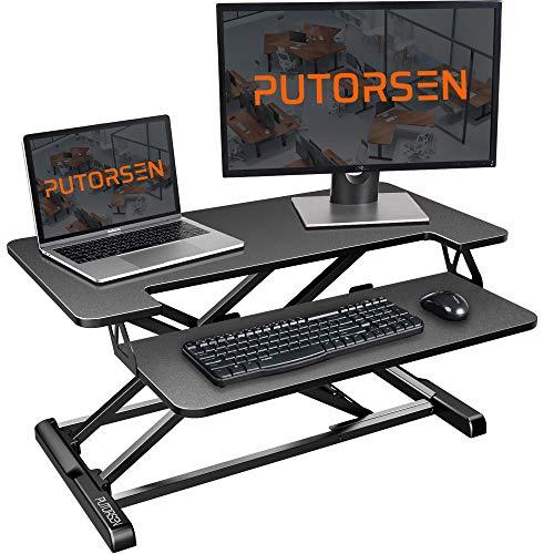 PUTORSEN® Ergonomischer höhenverstellbarer Sitz-Steh-Arbeitsplatz...