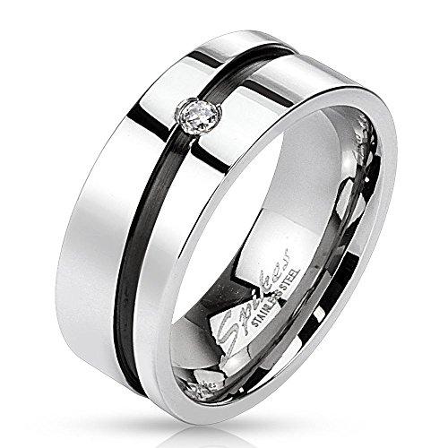 Bungsa® 62 (19.7) Edelstahl Kristall Ring mit diagonal schwarzem...