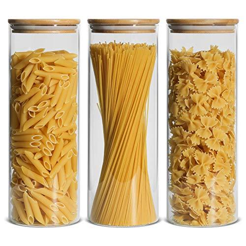 ComSaf 2200ml Luftdichter Vorratsglas 3er-Set, Φ10cm Spaghetti...