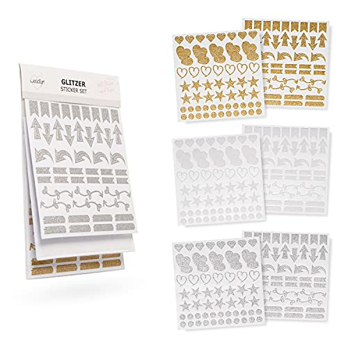 weddlyn® – Sticker in Gold Silber weiß Glitzer – Moderne Formen...