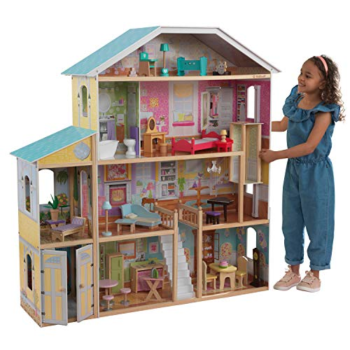 KidKraft 65252 Puppenhaus Majestic Mansion aus Holz mit Möbeln und...