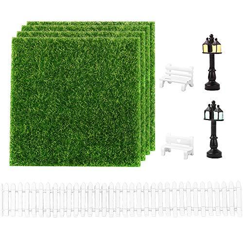 MEJOSER 9Pcs Miniatur Bank Zaun Kunstrasen Wiese Gras zum Basteln...