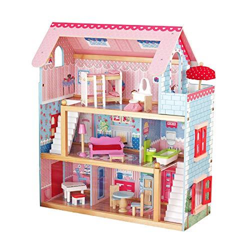 Infantastic® Puppenhaus aus Holz mit LED - 3 Spielebenen,...