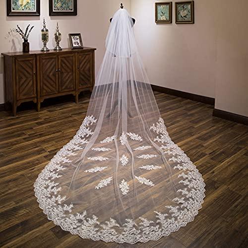 Elfenbein Weiß 3,5 Meter Brautschleier mit Spitze Applikationen Kante...