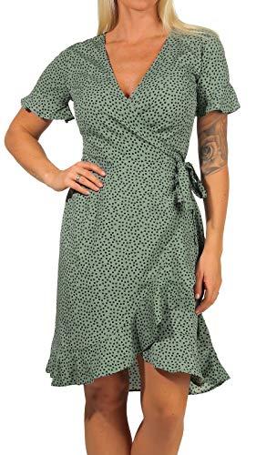 ONLY Damen Kleid ONLOlivia Wrap 15206407 Chinos Green AOP: Black Spot...