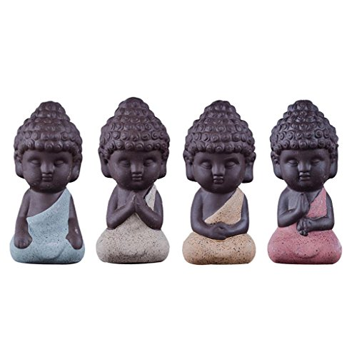 Gazechimp 4er-Set Mini Mönch Buddha Figuren Skulptur Statue Tee Tray...