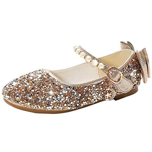 YOSICIL Mädchen Prinzessin Schuhe Flache Ballerinas mit Pailletten...