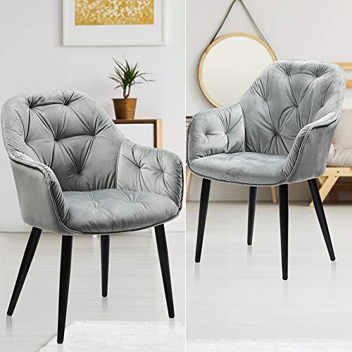 Esszimmerstühle 2er Set Samt Küchenstühle grau Polsterstuhl mit...
