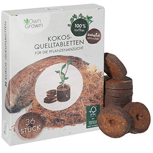 Kokos Quelltabletten mit Nährstoffen – 36 Stück, Kokoserde...