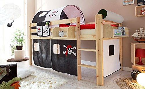 lifestyle4living Hochbett für Kinder in schwarz-weiß-braun und...