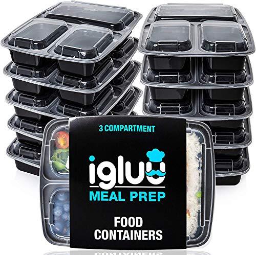 [10er Pack] 3-Fach Meal Prep Container Von Igluu - Essensbox, Lunchbox...