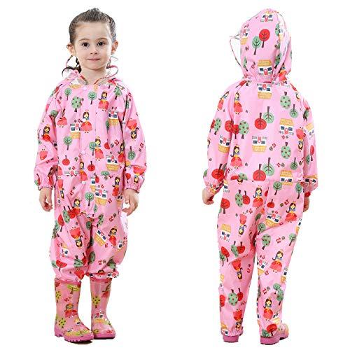 TURMIN Kinder Regenmantel mit Kapuze Mädchen Jungen Wasserdicht...