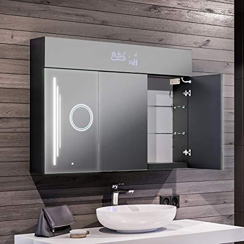 Artforma Spiegelschrank mit LED Beleuchtung 3-Türig anpassen (100 x...
