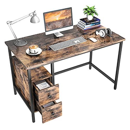 Schreibtisch mit 2 Schubladen, GIKPAL Computertisch Bürotisch aus...