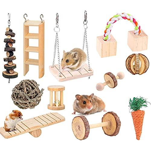 Wonninek Chew Toys Set 11 stück Naturholz Haustier Spielzeug hängen...
