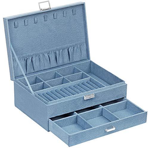 SONGMICS Schmuckkästchen, Schmuckbox mit 2 Ebenen, eine Schublade,...